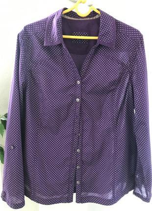 Сиреневая в горошек рубашка,cecil. размер l.