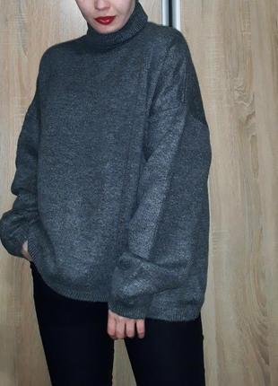 Мягкий, теплый обьемный свитер с горлом фасона оверсайз цвета графит dilvin турция