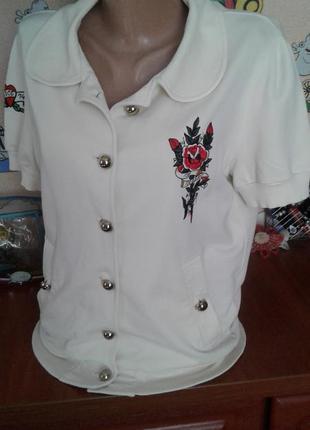 Iceberg болгария брендовая трикотажная блуза-рубашка с вышивкой м-л