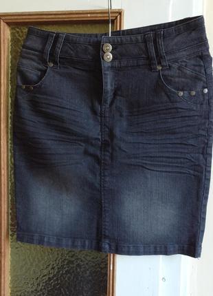 Юбка джинсовая стрейчевая серый графит