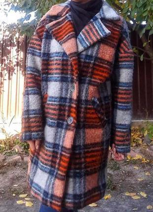 Шерстяное пальто одеяло оверсайз в клетку