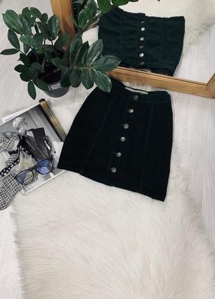 Вільветова юбка смарагдового кольору від denim co🧡🧡🧡