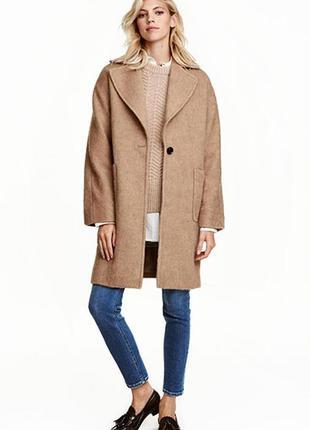 Оригинальное пальто из смесовой шерсти от бренда h&m разм. 34
