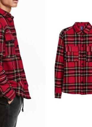 Стильная очень плотная мужская рубашка h&m - р-р м