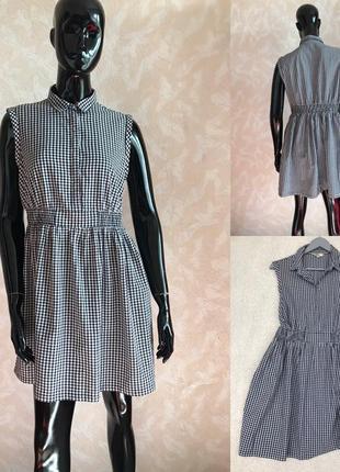Трендовое платье в клетку с кармашками m/l