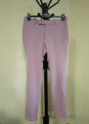 Пастельно-розовые зауженные брюки asos