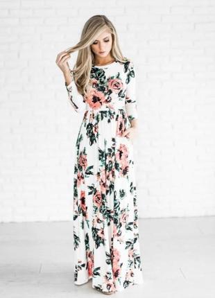 Новое, платье, плаття, сукня, длинное, белое, біле, в цветы, квіти