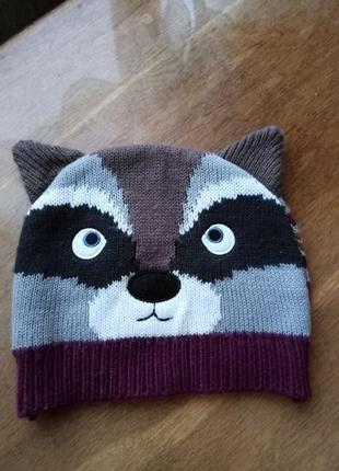 Оригинальная демисизонная шапочка котик на ребенка от 3 до 6 лет фирмы  tu