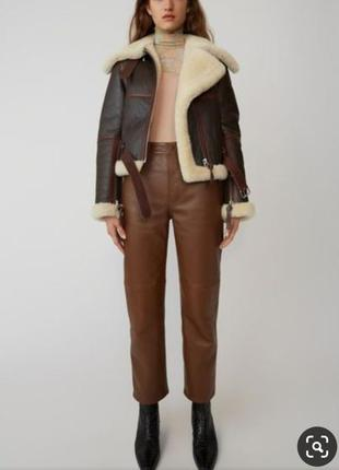 Коричневая косуха дубленка на овчине коричнева дублянка на овчині куртка курточка
