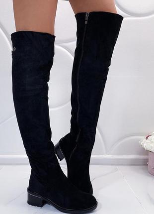 Новые шикарные женские черные зимние сапоги ботфорты