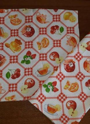 Кухонные вафельные полотенца фрукты 37х76, рушники кухонні