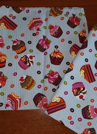 Кухонные вафельные полотенца тортики 36х74, рушники кухонні