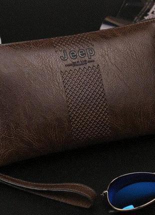 Коричневый мужской кожаный клатч бумажник jeep buluo