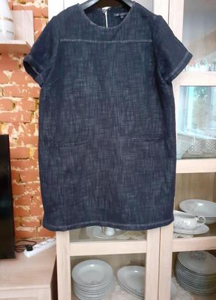 Плотное котоновое платье,  похожее на джинсовое m&s большого размера