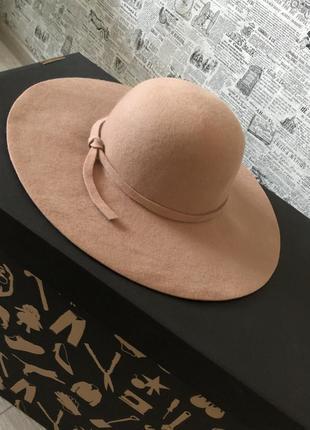 Бежевая фетровая шляпа шерсть (бесплатная доставка)