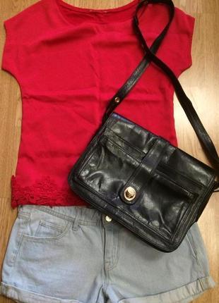 Фирменная кожаная сумка donna laura italy,черная сумочка кросс-боди