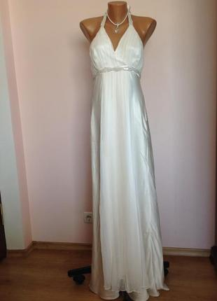 Длинное шикарное свадебное шелковое платье. /l/ brend monsoon