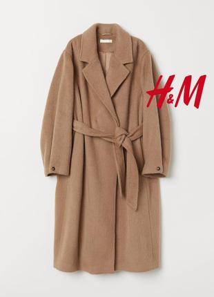 Премиальное пальто с поясом итальянская шерсть+мохер от h&m premium quality