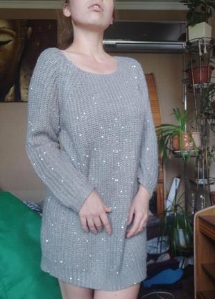 Вязаное платье с мохером