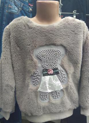 Меховая кофточка для девочек 4-14лет