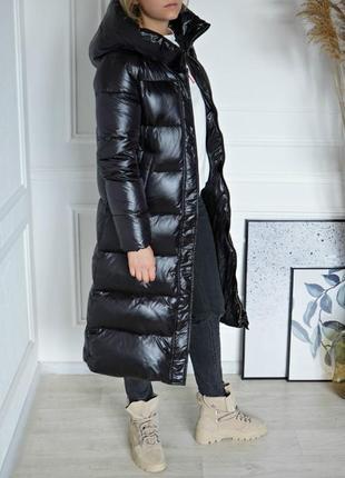 Зимнее длинное пуховое пальто