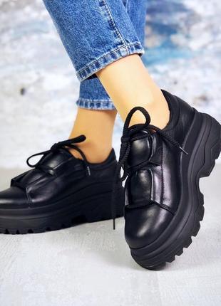 Рр 36-40 осень(зима) натуральная кожа стильные черные ботинки с интересной шнуровкой