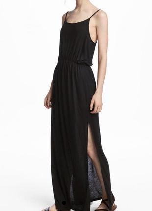 Длинное чёрное платье на бретельках h&m