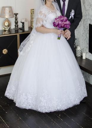 Белое пышное свадебное платье