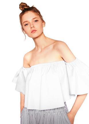 Гикарная блузка с открытыми плечами/блуза/кофточка/кроп топ