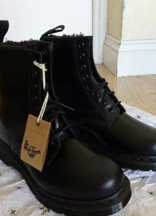 Ботинки dr. martens mono black office faux fur