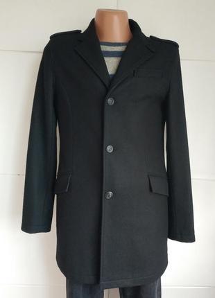 Стильное мужское шерстяное пальто topman базового черного цвета