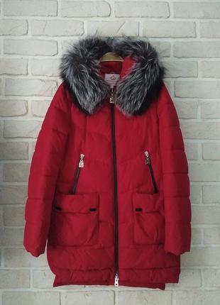 Теплая зимняя куртка парка пуховик с натуральным мехом чернобурки