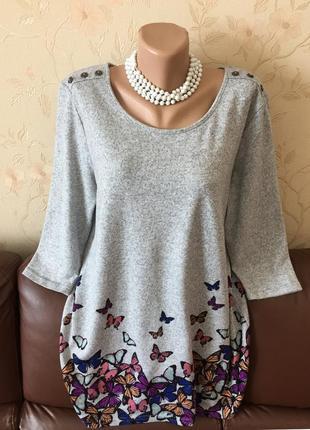 Теплая мягкая туника, короткое платье с бабочками