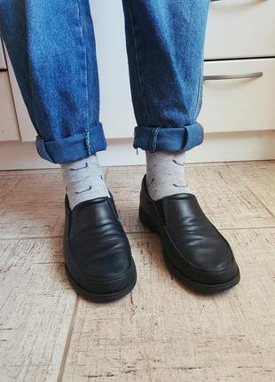 Туфли мокасины лоферы ботинки классические черные закрытые кожаные ретро ортопедические