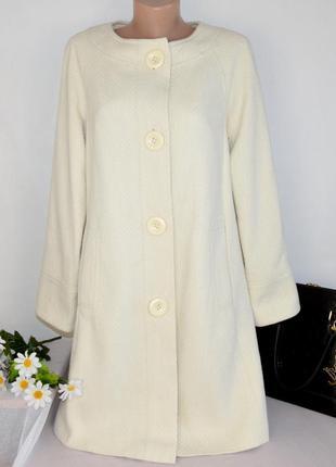 Брендовое бежевое демисезонное пальто с карманами today's woman шерсть акрил этикетка