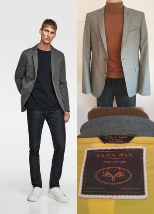 Стильный мужской пиджака zara мan denim couture