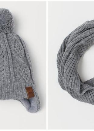 Теплые комплекты шапка+ снуд размер 4-8 лет
