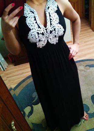 Эксклюзивный сарафан платье в пол, размер 16-18