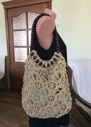 Вязаная сумка( соломенная нить)