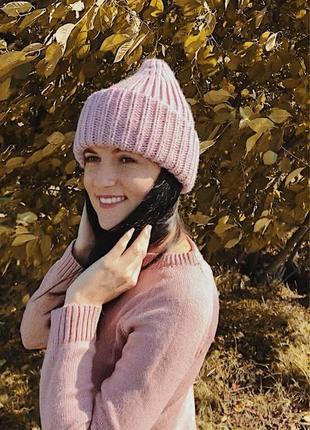 Шапка оверсайз, объемная шапка, вязаная шапка