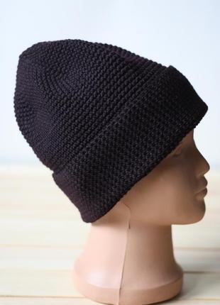 Мериносовая шапка бини подростку