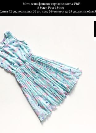 Нарядное шифоновое мятное платье в принт размер 8-9 лет