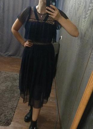 Платье миди тёмно-синего цвета