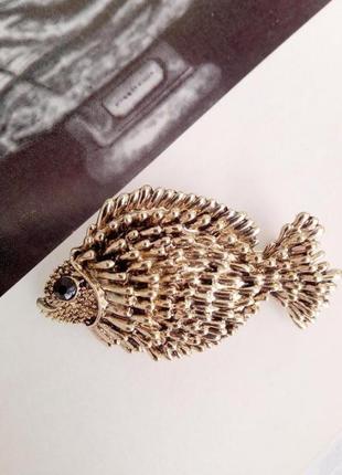 Стильная 3d брошь в форме рыбы