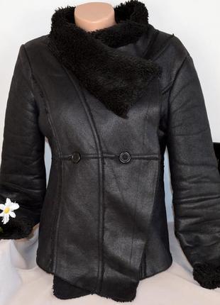 Брендовая черная дубленка soaked in luxury мех