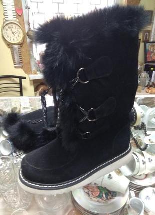 Зимние замшевые ботинки с натуральным мехом 37 размер