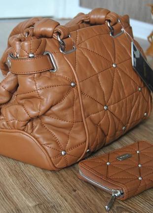 Кожаная сумка + кожаный кошелек mimco австралия / шкіряна сумка