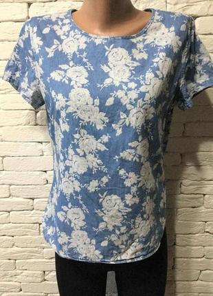 Стильная блуза,облегчённый джинс с цветочным принтом