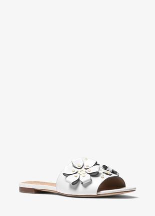 Шлепанцы кожаные белые  michael kors tara sandal