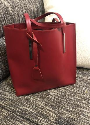 Итальянская кожаная сумка - шопер